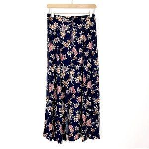 Vintage high waisted floral midi skirt 90s navy